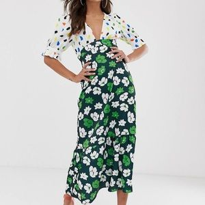 ASOS DESIGN Plunge Mixed Print Dress